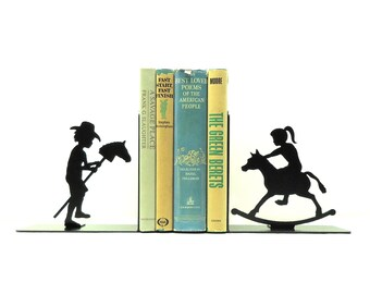 Stick Pony and Rocking Horse Metal Art Bookends - Free USA Shipping