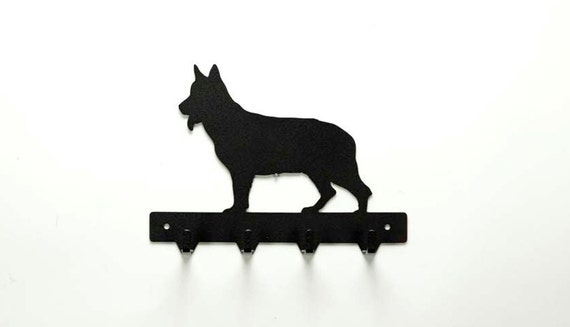 German Shepherd Metal Art Dog Leash or Key Rack - Free USA Shipping