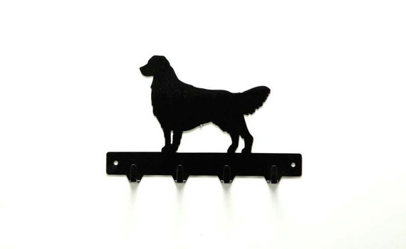 Golden Retriever Dog Metal Art Leash or Key Rack - Free USA Shipping
