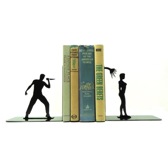 Shower Scene Metal Art Bookends - Free USA Shipping