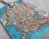 USA luggage tag made with original vintage map