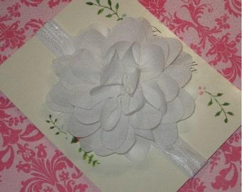 White Flower Headband, White Chiffon Baby Headband, Baby Hair Bow, Christening Headband, Toddler Headband, Newborn Headband Baptism Headband