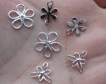 Sterling Silver Open Daisy Flower,Rhodium Flowers Links or Small Open Flowers