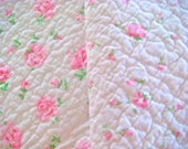 Shabby Chic Roses Prequilted Cotton Fabric 24 x 24 Inches