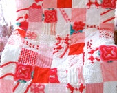 CUSTOM QUILT SAMPLE ~ Peppermint Red, Blushing Pink Vintage Chenille Patchwork Quilt - Price Varies by Size and Materials