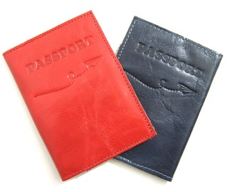 Leather Passport Holder, Leather Passport Cover, Leather Passport Case, Boarding Pass Leather Wallet, Gift Ideas - in Hot Red (No. 0064)