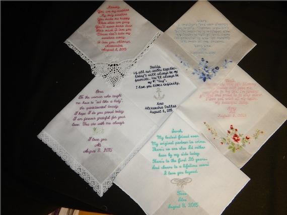 Wedding handkerchiefs - Set of 6 - Christmas Handkerchiefs - mix and match custom machine embroidered