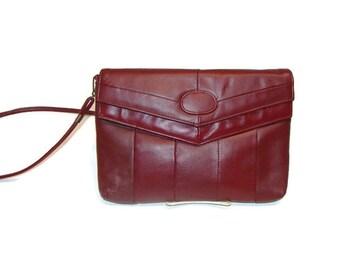 Vintage Oxblood Leather Envelope Clutch With Detachable Shoulder Strap Burgundy Leather Handbag Vintage Leather Clutch Shoulder Purses