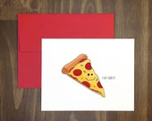 valentines day card / stay cheesy pizza / fun greeting for anyone / birthday / italian / pizza lover / for foodie / food pun / anniversary