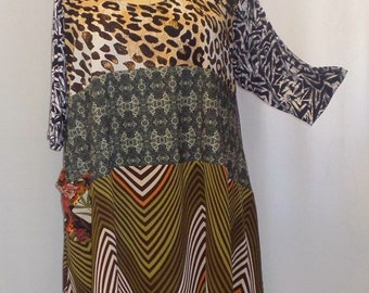 Coco and Juan Plus Size Lagenlook Trapeze Tunic Top Jungle Nights #5 Mixed Print Poly Knit Size 1 (fits 1X,2X)   Bust 52 inches