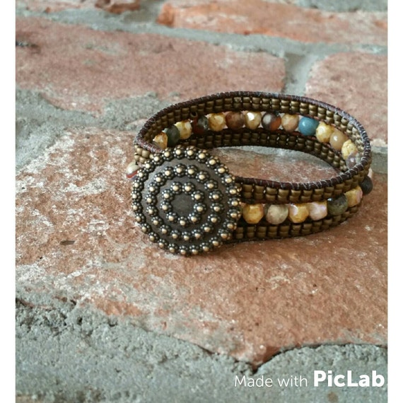 Beaded wrap bracelet. You'll have it forever.leather bracelet jasper jewelry beaded bracelet wrap bracelet