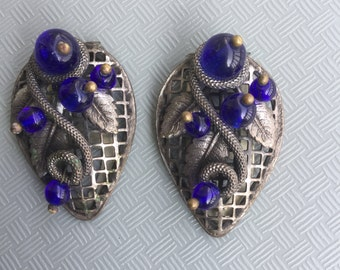 Vintage Art Deco Snake Blue Glass Bead Dress Fur Clips