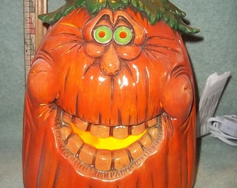Silly Faced Light Up Pumpkin Jack O Lantern Halloween Decoration Made of Ceramic