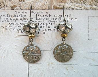 pierced button bird earrings assemblage rhinestone birdsnest nest