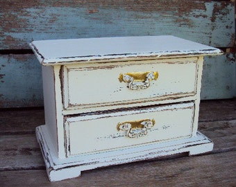 Vintage Shabby Chic Wood Jewelry Box  Distressed Chippy Antique Off White French Provincial Music Box