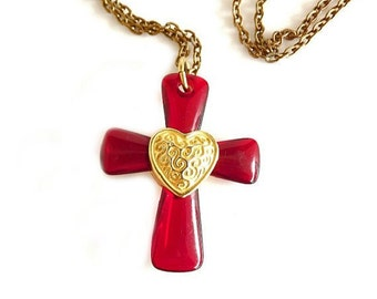 Vintage Necklace with Red Cross Glass Pendant, Ruby Red Pendant, Heart Jewelry, Costume Jewelry, Jewelry Accessories