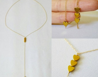 SPECIAL PRICE! Gold heart lariat Y necklace. Long. Layering. Minimalist. Delicate. Dainty. Trendy. Gold necklace. Everyday. Gift. Valentine