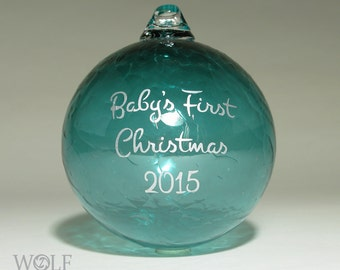 Personalized Baby's First Christmas Ornament Blown Glass Teal Turquoise Etch
