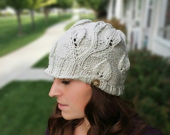 Knitting Pattern PDF - Climbing Leaves Cabled Knit Hat with Buttons, Women's Hat knitting, Teen hat , boho knitting, instant download