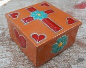 Terra Cotta, Red and Turquoise Tin Punch Trinket Box   ~ Terra Cotta, Red and Turquoise Tin Punch Rosary Box  ~  Tin Punch Jewelry Box