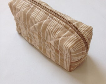 Small quilted zipper case - striped khaki pouch, notions storage, travel accessory, sunglasses bag, power cord travel organizer, jewelry