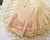 Vintage Style Camera Coffee Stained Tags Wedding Gift and Favor Hang Tags Set of 10