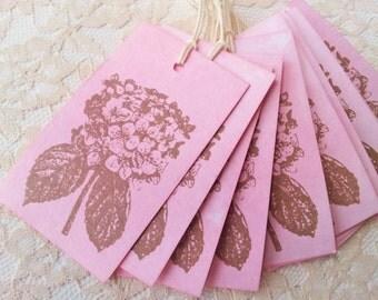 Hydrangea Hand Dyed Spun Sugar Tags Wedding Favor Tags Set of 10