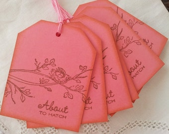 Baby Shower Favor Tags About to Hatch Nest Baby Shower Tags Set of 6
