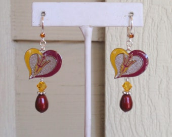 Arizona State Earrings, AZ State Sun Devils Bling, Maroon Pearl and Gold Crystal College Earrings, AZ State College Accessory Jewelry