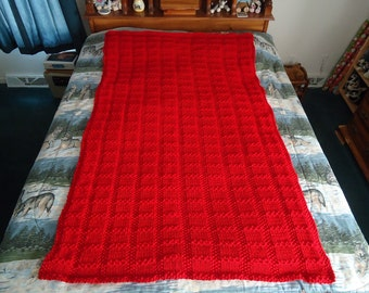 Cherry Red Hand Knitted Lattice Afghan,  Blanket,  Throw, - Home Decor