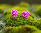 Purple Rose Resin Earrings, Tiny Flower Earrings, Stud Earrings, Gift for Girls, Floral Jewelry