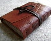 "Leather Journal, lined pages, approx. 4""x 6"", rustic brown, handmade rustic journal(1554)"