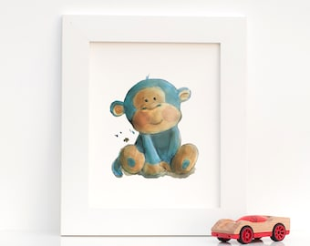 Nursery Watercolor Artwork, Baby Monkey : Print of Original Watercolor