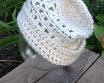 Lacy White Alpaca Hat, Hand Crocheted, Ready to Ship