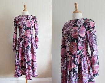 Vintage Laura Ashley Dress / Purple Floral Dress / 80s Floral Midi Dress