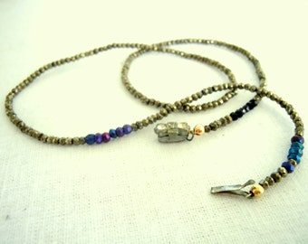 Pyrite and spinel gem wrap bracelet or necklace with Vintage clasp: SWEET SALE