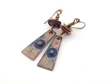 Blue and Pink Enameled Earrings - Eyes Of Blue Earrings - Enameled Earrings - Artisan Earrings -Boho Earrings -Antique Brass Earrings -AE064