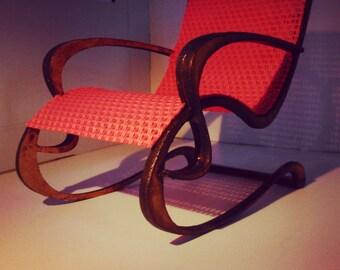 Art Nouveau style red armchair , 1/12 miniature for dollhouses