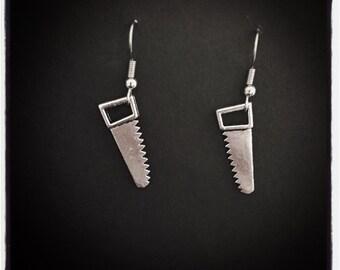 Silver Saw Earrings (Surgical Steel Hooks)
