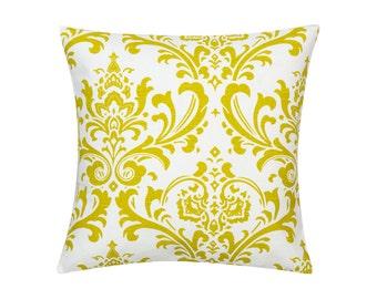 LEMON GREEN Pillow Cover.Decorator Pillow Cover.Home Decor.Large Print.DAMASK.Cushions. Cushion.Pillow. Premier Prints