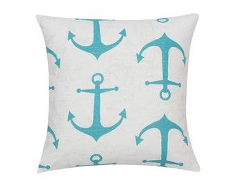 BLUE Pillow Cover.Decorator Pillow Cover.Home Decor.Large Print.ANCHORS.Cushions. Cushion.Pillow. Premier Prints