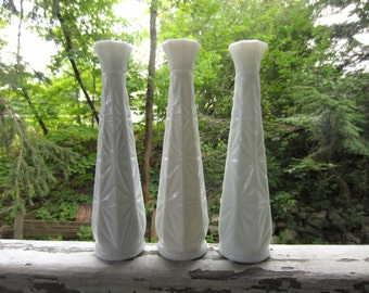 Vintage Milk Glass Vases Tall Matching Set of 3