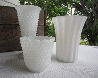 Vintage Milk Glass White Pedestal Compote Bowl Vases Set of 3