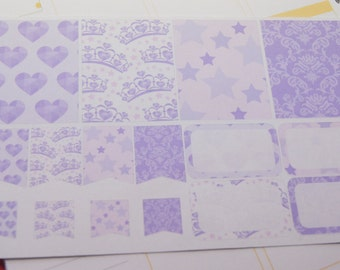 16 Planner Stickers Scrapbook Stickers Purple Princess Stickers Planner Stickers PS62 Fits Erin Condren Planners Happy