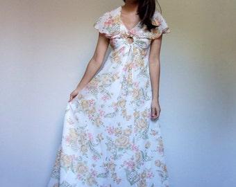 White Maxi Dress Boho Floral Long Summer Tent Ruffle Dress Summer Maxi Dress - Extra Small XXS XS