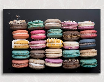 Paris Photo on Canvas, French Macarons, Chalkboard, French Kitchen Decor, Gallery Wrapped Canvas, Large Wall Art
