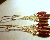 Vintage Padparadscha Rhinestone Filigree Drop Earrings in Gold