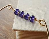 Purple Amethyst Crystal Beaded Gold Charm Bangle . Stackable Brass Bracelet  .  Dark Plum Purple  Charm Bracelet . Violet Crystal Bangle