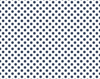 Navy Small Dots Fabric by Riley Blake Designs - by the Yard - 1 Yard - Blue and White - Navy and White - C480-21