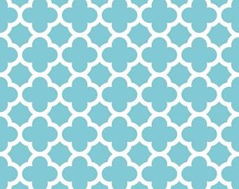 Aqua Quatrefoil Fabric - Aqua Quatre Foil by Riley Blake Designs - Blue Turquoise - by the Yard - 1 Yard